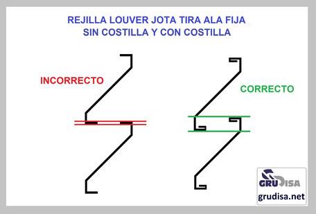 REJILLA LOUVER J (JOTA) INSTALACIÓN CORRECTA