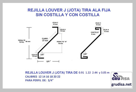 "TIRA PARA REJILLA LOUVER JOTA PARA PERFIL DE 3/4"""