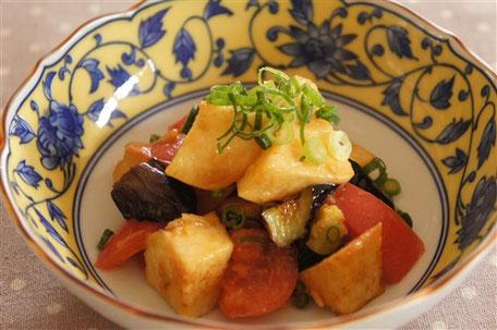 揚げ大和芋と茄子のわさにん味噌和え