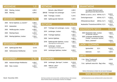 Weinpreisliste Weingut Mai