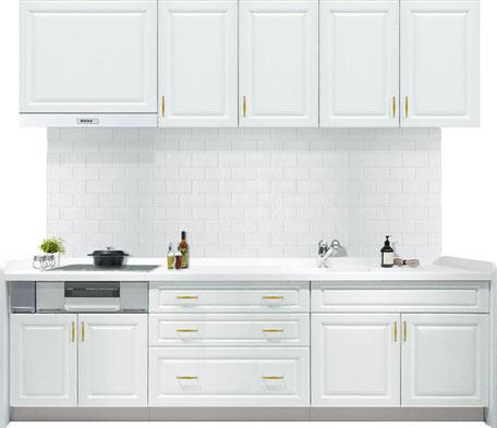 白い框のキッチン