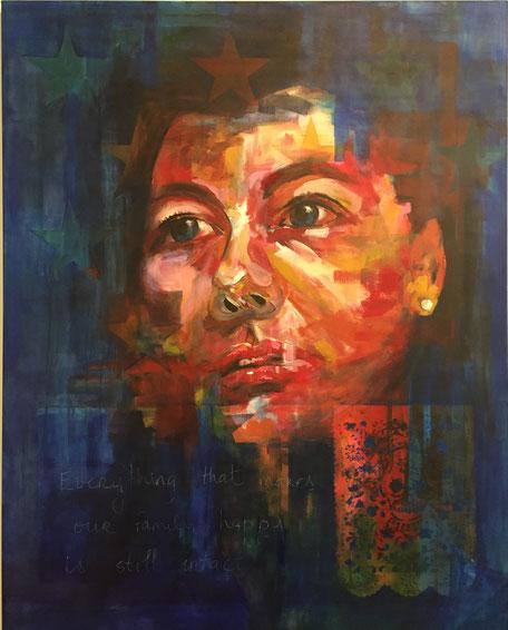 """Rapsody in blue, 2017 acylic on canvas, 60""""x48"""" SOLD"""