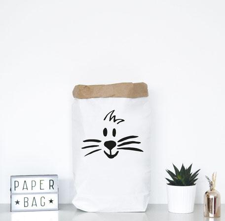 Paperbag mittoller Illustration eines Löwengesichts