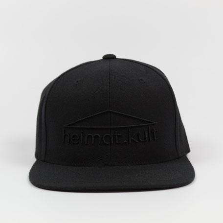 Snapback Cap schwarz, heimat.kult, schwarzer Stick