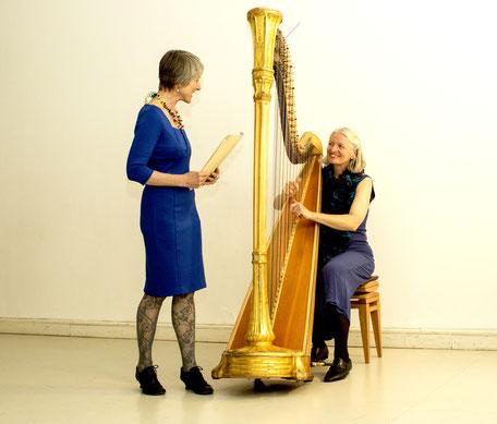 lyrika : Renate Neumann, Sprecherin, und Eva Pressl, Harfenistin