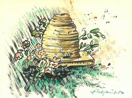 Gezeichneter Bienenkorb