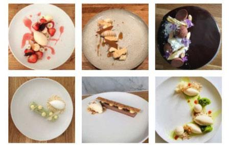 Sex tallrikar med olika desserter