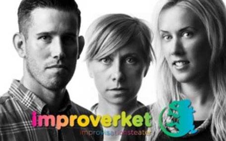 improverket logga och tre människor i svartvitt