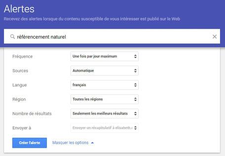 creer une alerte google avec e-cime.fr spécialiste SEO et création de sites web