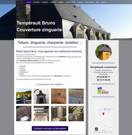 le site de temperault couverture, réalisé avec e-cime.fr