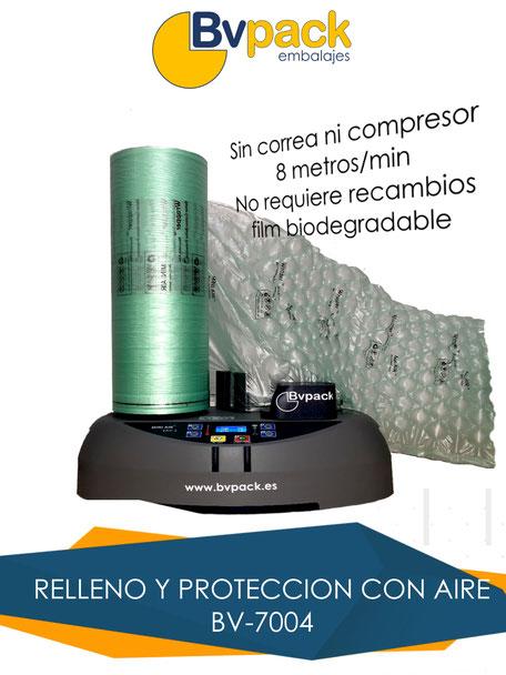 Protección con burbujas. Máquina de relleno. Almohadillas protección.