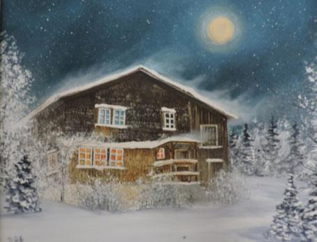 """""""Heiligabend""""   Öl auf Leinwand,   24 cm x 30 cm,    Fr. 450.-"""