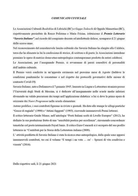 """Delianuova - Comunicato ufficiale del Premio Letterario """"Saverio Italiano"""" 2021"""