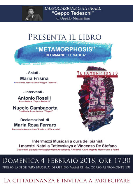 """Oppido Mamertina - Presentazione del libro """"Metamorphosis"""" di Emmanuele Saccà"""