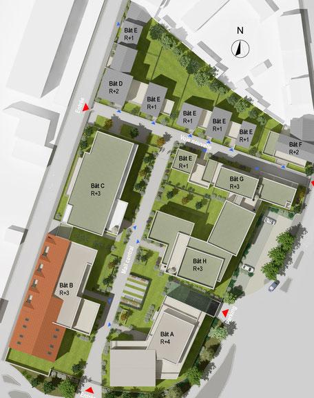 Plan Masse de l'ensemble Immobilier Neuf à La Rochelle