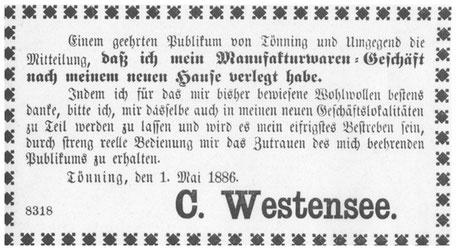 Urkunde Modehaus C.-R. Westensee in Tönning