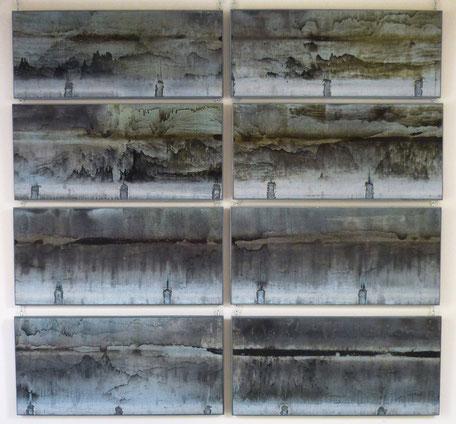 """""""Pluie noire"""" 8 panneaux sculpture de zinc-exposée au musée de Gap jusqu'en mars 2018"""