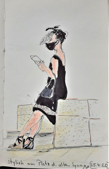 Freiburger Coronaimpression / Zeichnung Hannelore Bastian
