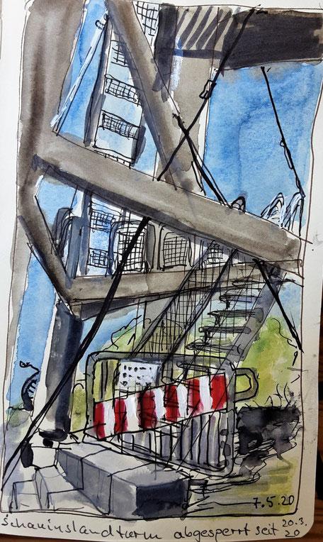 Freiburger Coronaimpression /Zeichnung Hannelore Bastian