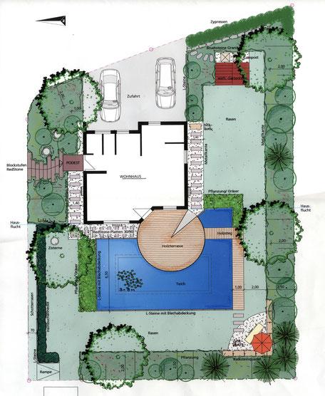 Garten mit Naturteich und Holzterrasse in Bräunlingen