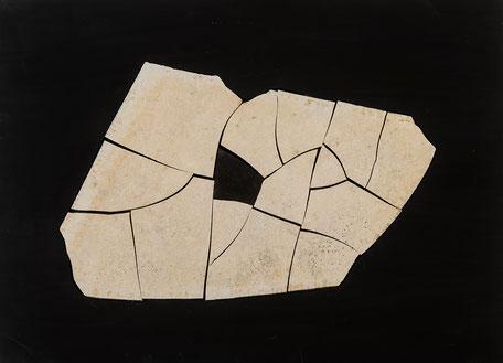 Quadro scultura  - pietra fossile -  composizione  su pannello