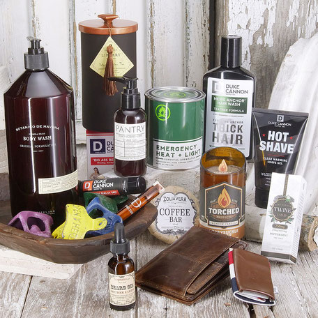 mens section new jersey chester local shop small business dainty dandelion bottle opener beard balm oil wallet leather beer candle CBD unique one of a kind gift duke cannon military fireman