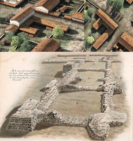 Een opgravingstekening van de Reuvensbaden en de reconstructie door Archeo3D