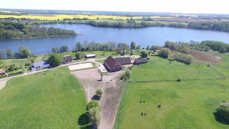 Luftaufnahme, Keezer See, Pferdehaltung, Pension