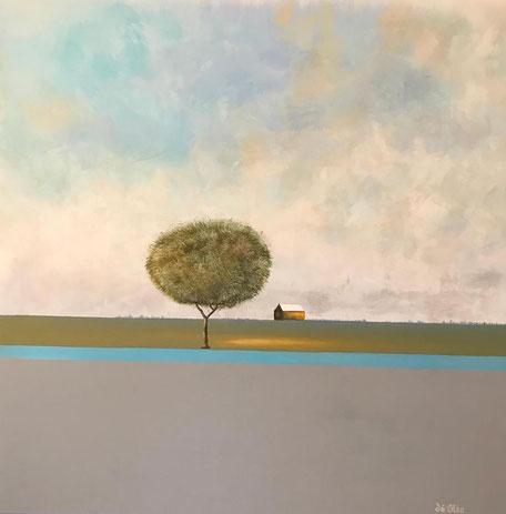 DE OLEA - Le refuge - Réf. 289 - Acrylique sur toile - 100 cm x 100 cm (châssis 3D) - Disponible