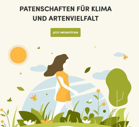 """Frau auf Blumenwiese, darauf steht """"Patenschaften für Klima und Artenvielfalt"""" von Klimawiese"""