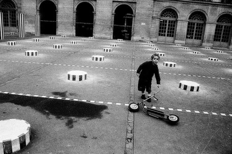 FRANCE / Paris / From the book 'Auftakt'. Boy with the scooter at Palais Royal, 2006