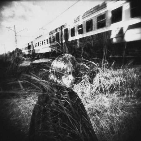 """LATVIA / Jurmala / From the book """"Auftakt"""". Linda in front of train. Double exposure, 2009"""