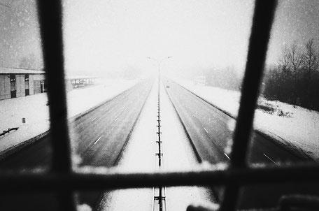 LATVIA / Riga / From the book 'Auftakt'. Bridge over Karla Ulmana Gatve, 2010