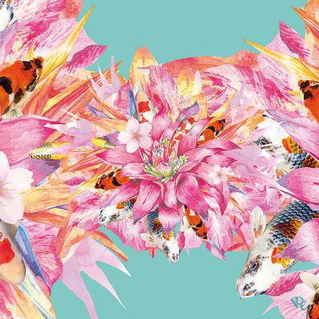 SUPER ASIA. Seidentuch Asia Hurly-Burly. Erhältlich in KaDeWe, Alsterhaus, Oberpollinger. Erleben Sie die Faszination. Blau, rot, orange, gelb, Geschenk, Exklusiv, Geschenkidee. Seidentücer, Accessoires und Fashion von Pattern of Earth Berlin.