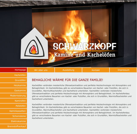 Schwarzkopf Kaminbau Homepage Rödermark Onlinedesign