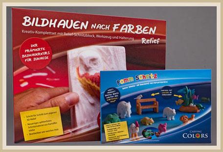 Bedruckter Karton - Bildhauen nach Farben.