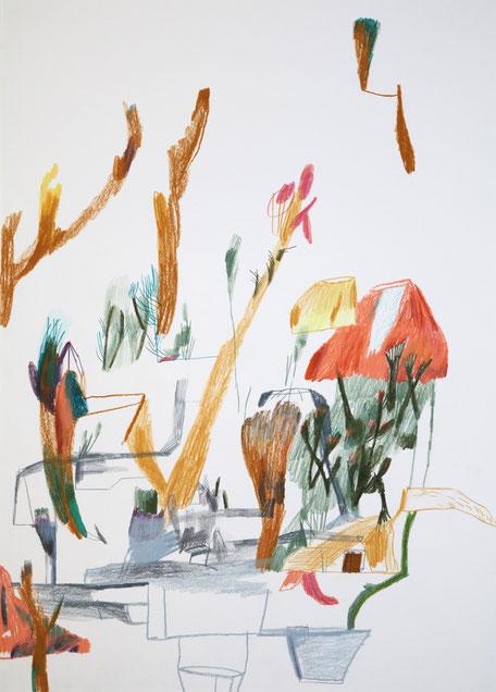 Lustgarten. 2016 . Bleistift , Farbstift, Wachskreide auf Papier . 70 x 50 cm