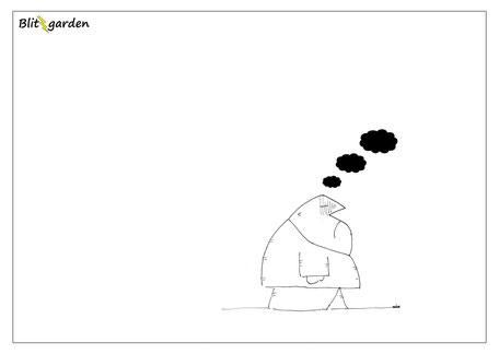Menschenkenner-Mkt. Blitzgarden Cartoon: Trübe Gedanken wie dunkle Wolken