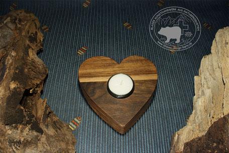Herzkerzenständer aus Holz | Apfelbaum | Herzförmiger Kerzenständer | Teelichthalter