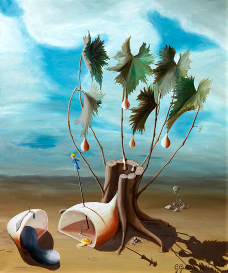 In occasione della mostra del vino (Prosecco) di Valdobbiadene un lavoro surreale a tema della vite.