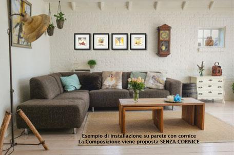 Installazione mini quadri in salotto