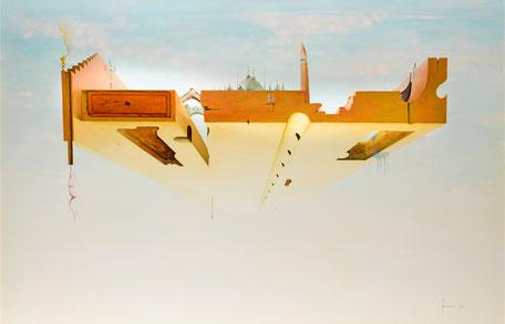 Trasfigurazione nel sogno della favolosa città di Venezia, il suo essere sospesa sul mare, come fosse un cielo. Sopra, i suoi monumenti sono  appoggiati su una struttura sagomata (ondulata) e dalle forme fantastiche. Forse domani....