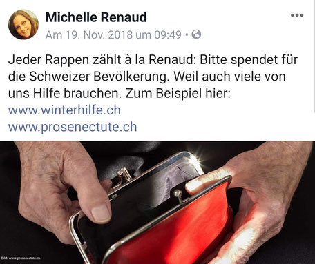 Michelle Renaud - Screenshot Facebook Thema Armut