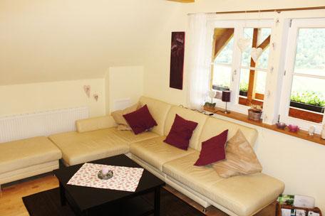 Die Ferienwohnung in Gengenbach bietet einen großen Wohnbereich zum Ausruhen.