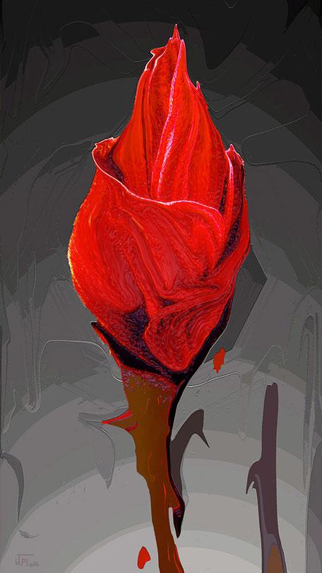 Kunstwerk: Knospe rot