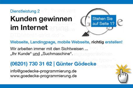 Homepage erstellen, Hompage Suchmaschinenoptimierung mit Gödecke Programmierung