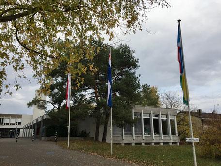 Der Schauplatz: die Aula des Schulhauses Fiechten in Reinach
