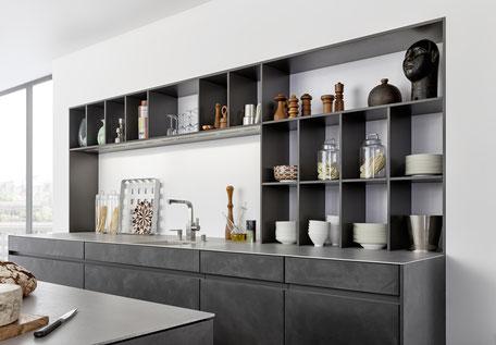 modere graue Küchenwand von Leicht Küchen