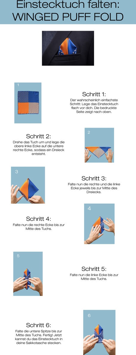 Infografik Einstecktuch falten: Winged Puff Fold