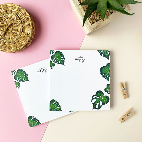 squared notepad with monstera illustration made of recycled paper